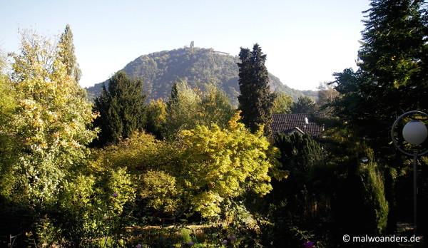 Blick aus dem Hotel Bonnhouse auf den Drachenfelsen