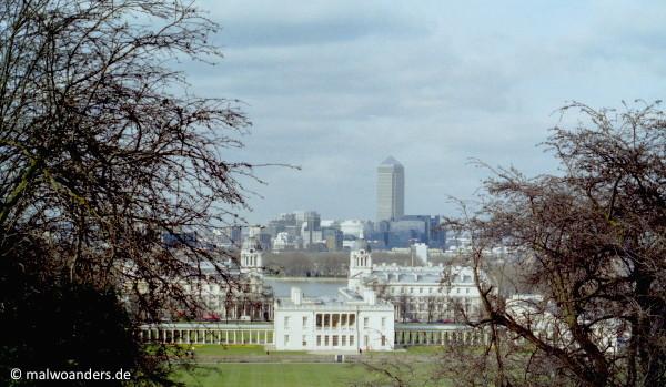 Blick vom Observatorium auf die Docklands